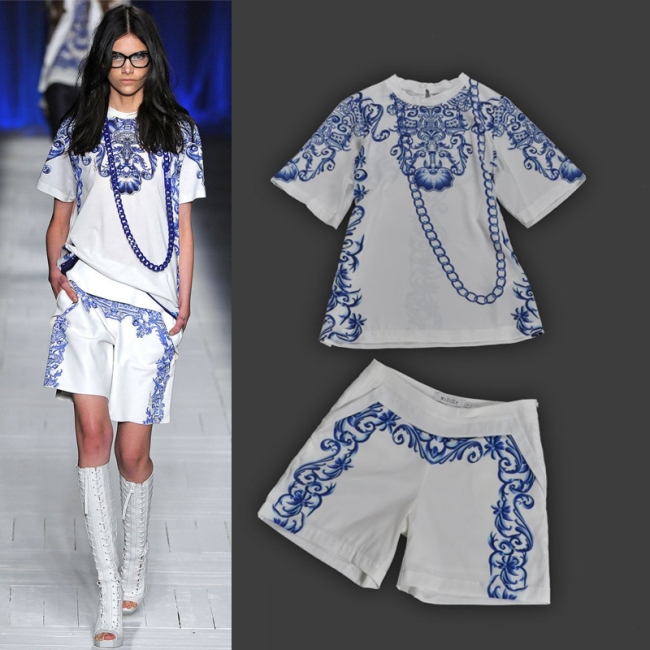 2013-spring-and-summer-fashion-small-fresh-blue-and-white-porcelain-vintage-print-loose-top-shorts